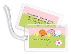 Personalized Sports Girl Bag Tags Set