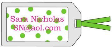 Polka Dot Green Bag Tag