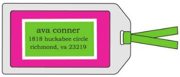 Hot Pink and Green Bag Tag