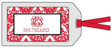 Damask Red Bag Tag