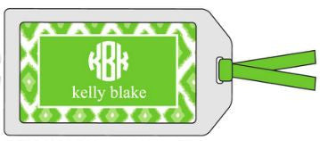 Green Ikat Bag Tag