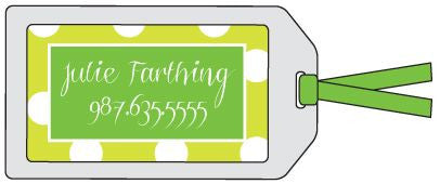 Big Dot Lime Green Bag Tag
