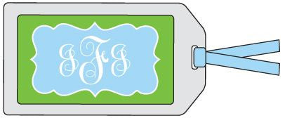 Fancy Frame Green and Blue Bag Tag