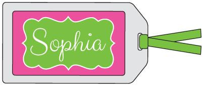Fancy Frame Green and Hot Pink Bag Tag
