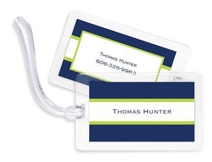 Navy & Lime Stripe Bag Tags Set