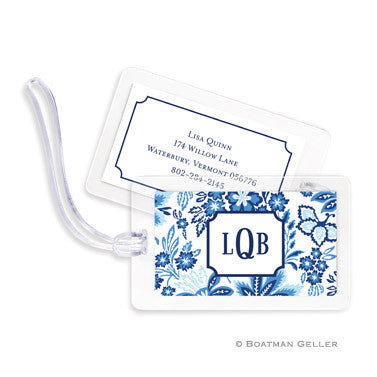 Classic Floral Blue Bag Tags Set