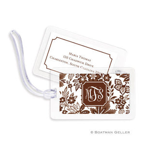Classic Floral Brown Bag Tags Set