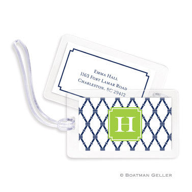 Bamboo Navy & Green Bag Tags Set