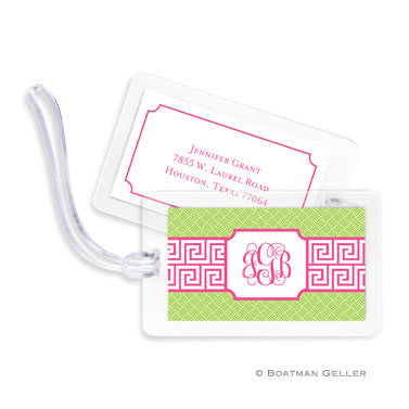 Greek Key Band Pink Bag Tags Set