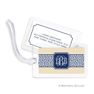 Greek Key Band Navy Bag Tags Set