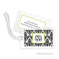 Madison Damask White with Black Bag Tags Set