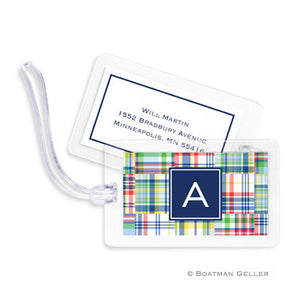 Madras Patch Blue Bag Tags Set