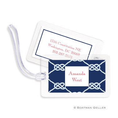 Nautical Knot Navy Bag Tags Set