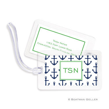 Anchors Navy Bag Tags Set