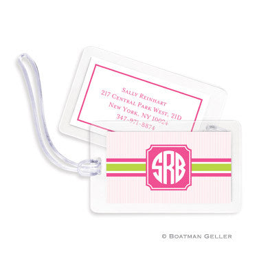 Seersucker Band Pink & Green Bag Tags Set