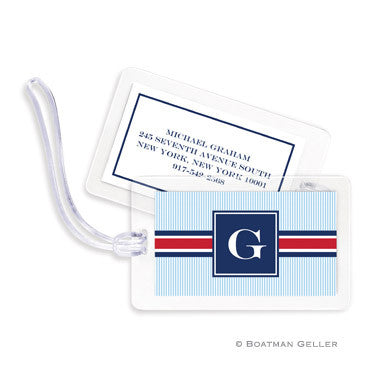 Seersucker Band Red & Navy Bag Tags Set