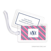 Repp Tie Pink & Navy Bag Tags Set