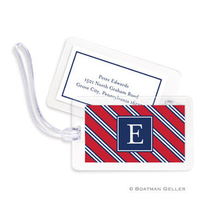 Repp Tie Red & Navy Bag Tags Set