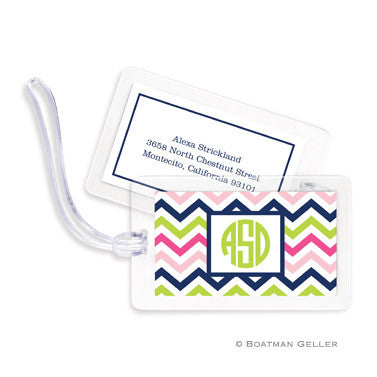 Chevron Pink, Navy, & Lime Bag Tags Set