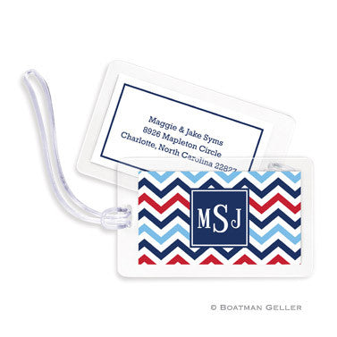 Chevron Blue & Red Bag Tags Set