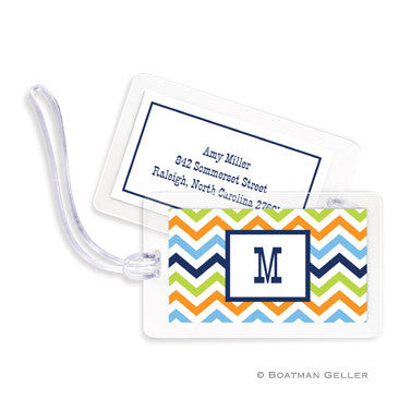 Chevron Blue, Orange, & Lime Bag Tags Set
