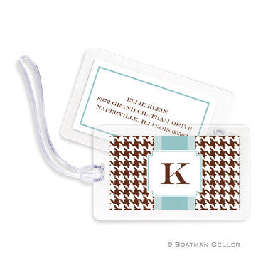 Alex Houndstooth Chocolate Bag Tags Set