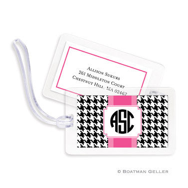Alex Houndstooth Black Bag Tags Set