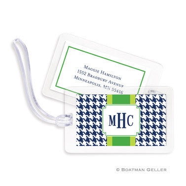 Alex Houndstooth Navy Bag Tags Set
