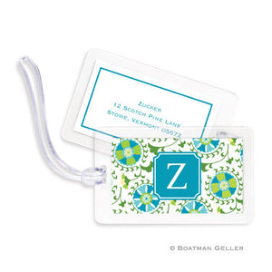 Suzani Teal Bag Tags Set
