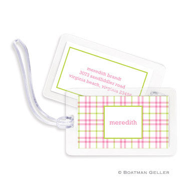 Miller Check Pink & Green Bag Tags Set