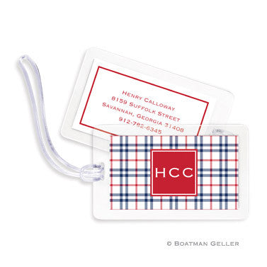 Miller Check Navy & Red Bag Tags Set