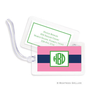 Rugby Navy & Pink Bag Tags Set