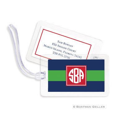 Rugby Navy & Kelly Bag Tags Set