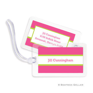 Stripe Raspberry & Lime Bag Tags Set