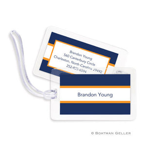 Stripe Navy & Tangerine Bag Tags Set
