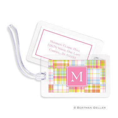 Madras Patch Pink Bag Tags Set