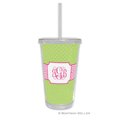 Greek Key Band Pink Beverage Tumbler