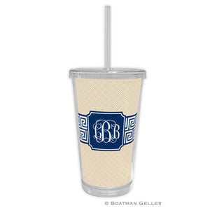 Greek Key Band Navy Beverage Tumbler