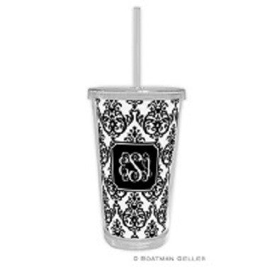 Madison Damask White with Black Beverage Tumbler