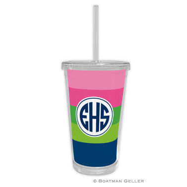Bold Stripe Pink, Green, & Navy Beverage Tumbler