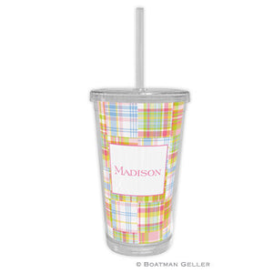 Madras Patch Pink Beverage Tumbler