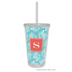 Coral Repeat Teal Beverage Tumbler