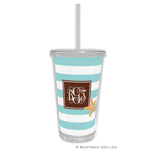 Stripe Starfish Beverage Tumbler
