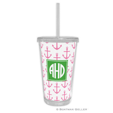 Anchors Pink Beverage Tumbler