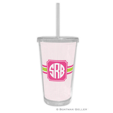 Seersucker Band Pink & Green Beverage Tumbler