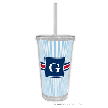 Seersucker Band Red & Navy Beverage Tumbler
