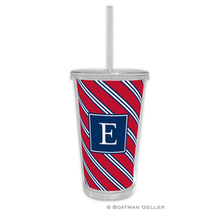 Repp Tie Red & Navy Beverage Tumbler