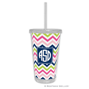 Chevron Pink, Navy, & Lime Beverage Tumbler