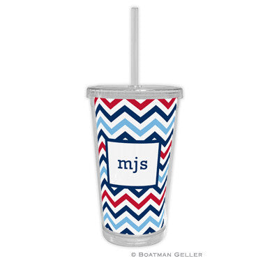 Chevron Blue & Red Beverage Tumbler