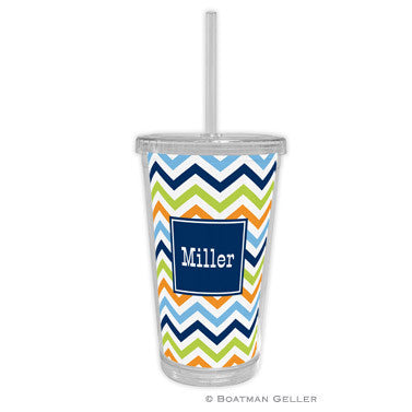 Chevron Blue, Orange, & Lime Beverage Tumbler
